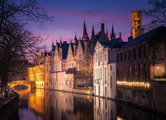Beautiful Bruges (DMontalbano) Tags: 500px bruges belgium brugge flanders west europe water city architecture travel street sky night sunset clouds blue light dan montalbano photography canal bridge bridges cityscape mood purple