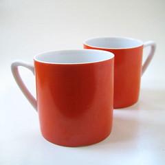 Orange. (Kultur*) Tags: orange cup coffee vintage tea pair retro mug 1970s serving orange70s