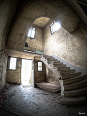 Enigmatic stairs (Maoli Photographies) Tags: old urban stair olympus fisheye staircase sanatorium exploration hdr abandonned ep3 urbex 75mm samyag