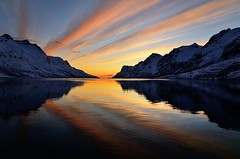 golden reflections (John A.Hemmingsen) Tags: sunset seascape reflection colors clouds landscape troms ersfjordbotn micarttttworldphotographyawards micartttt nikkor1685dx bestcapturesaoi nikond7000
