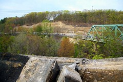 L&WV RR bridge - stonework removal (Hank Rogers) Tags: pictures railroad bridge stone photography photo construction photos pennsylvania stonework picture rr viaduct pa photographs photograph passenger removal dupont avoca heidelburg lwv laurelline lackawannawyomingvalley