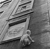 Baby climbing a building (pedrosimoes7) Tags: bw sculpture baby building art portugal lisbon alcantara flickrduel blackandwhiteonly lisbonfactory