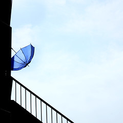 Rainy season (tanakawho) Tags: blue sky cloud building umbrella stair dry plastic railing rainyseason tanakawho squarreformat bestofjunetwtme