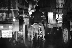 The dumb biker (N A Y E E M) Tags: man rain night truck traffic motorbike windshield bangladesh chittagong cdaavenue