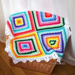 Bright Granny Square Baby Blanket (Olga Soleil) Tags: baby bright crochet multicolor babyblanket crochetblanket