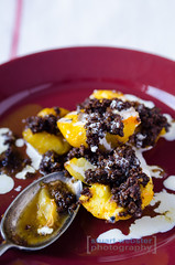 Peach and Parkin Crumble (StuartWebster) Tags: portrait food cake fruit dessert peach editorial parkin