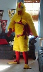 Chicken suit 83 (ChickenJay) Tags: bird chicken costume beak suit bikini hen talons birdbrain