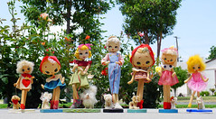 Perfect weather for walking our dogs! (DollyBeMine) Tags: dog cute eye japan vintage walking outside outdoors japanese big mod collection walker kawaii eyed 1960s cloth posedoll poseable stockinette bradleydoll
