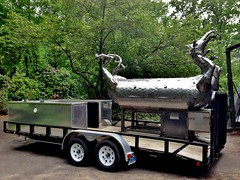 Finished Dragon Smoker 5.24.2013 (Madfish1c) Tags: sculpture food usa art cooking metal fire handmade steel welding smoke craft bbq tailgating grilling smoker metalart