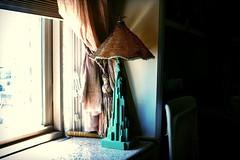 green lady (omoo) Tags: newyorkcity window apartment interior westvillage curtains greenwichvillage greenlady goldcurtains goldtassel dscn4978 greendecotablelamp decolady granitewindowsill beadedconicalshade greenladyinthewindow