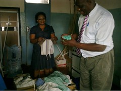Chama Zambia Hospital Director receives supplies (CLWR1) Tags: kits quilts zambia shipment wecare wecarekits