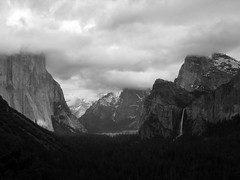 Yosemite_Valley_Dark_Cloudy_BW (S E Brendel) Tags: california park trees winter cliff mountain lake snow storm mountains reflection tree yosemitefalls nature water beauty pine clouds creek forest river landscape mirror early us waterfall spring pond woods rocks stream crystal bare nevada lagoon falls cliffs sierra clear national valley yosemite bridalveil pristine unitedstate