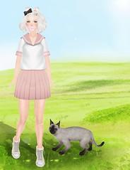 Field Cats (Miki.Japonista) Tags: school friends summer sun anime cute love fun hands uniform mesh sugar secondlife lumiere bubblegum catears omen tsg manticore gacha petcat myuglydorothy amitomo