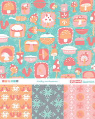 dutchy mushroom collection (Jill Howarth) Tags: mushrooms pattern surfacedesign vector pyrex