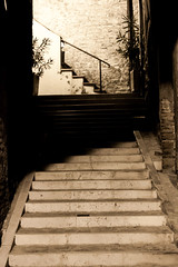 Stairs Everywhere - papigno (pieroniart) Tags: italy monochrome sepia umbria papigno canoneos500d flickrandroidapp:filter=none