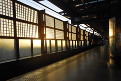 St Pancras at Sunset (DncnH) Tags: light sunset london station train perspective platform railway stpancras