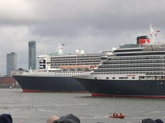The Three Queens (25/05/2015): Queen Mary 2 and Queen Victoria (David Hennessey) Tags: red 2 car liverpool river boat elizabeth mary transport victoria queen birkenhead arrows cunard mersey liner