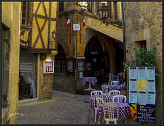 Menu 10 . (Picture post.) Tags: france bergerac tables gingham cafe cobbles menu buildings lamp signs