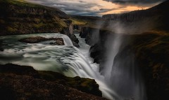 Sunset at Gullfoss (explored) (ramerk_de) Tags: iceland waterfall sunset serene
