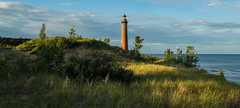 Little Sable Lighthouse (Kevin Povenz Thanks for the 2,600,000 views) Tags: 2016 july kevinpovenz westmichigan michigan oceana oceanacounty silverlake littlesablelighthouse littlesable lakemichigan sand dunes dunegrass sanddunes beach grass sun sunlit sunlight water green blue lighthouse panoramic pano canon7dmarkii sigma morningsky morning early earlymorning sunrise scenicsnotjustlandscapes outdoor