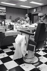 Bangkok Barber Shop Quartet #1 (jcbkk1956) Tags: bangkok thailand thonglo barbers mono blackwhite fuji x100 haircuts salon hairdressers thai customer reflections dof mirrors worldtrekker hair cuttings chequered