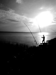 Le pcheur (Claeryss) Tags: life pche nature eau water man homme sun black white