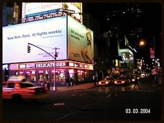 Majestic Deli (Vinyl 1979) Tags: airfrance airfrancebillbord nyc night nycatnight newyork neon crownvictoria broadway 50thst yellowcab nyctaxi manhatten