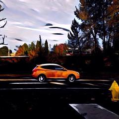 Painted traffic (Tysasi) Tags: prisma sd600 oregon milwaukie orangeline portlandmilwaukielightrail pmlr trimet trimetpmlr