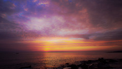 Out of time (Gio_says_goodbye) Tags: sunrise sea seascape clouds landscape boat fisherman music wave italy memories