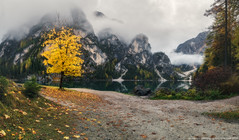 Italy. Dolomites. Cloudy morning at Lake Braies (naumenkophotographer.com.ua) Tags: italian alpine alps autumn beautiful blue braies di dolomite dolomites europe forest green hiking house italy lago lake landscape mountain nature outdoor panorama park peak pond rock scenery seekofel south sudtirol tourism tranquil travel trees trentino turquoise tyrol valley water pentax