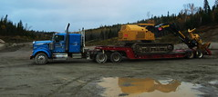 Barker Logging (jr-transport) Tags: kenworth w900 float trailer truck tigercat fellerbuncher 870 heavyhaul