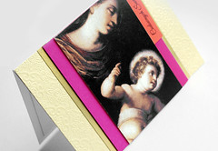 recycled picture with religious painting (minttint) Tags: christmas xmas holidays handmadecard madonna gold pink orange