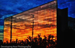 Sunset Power (nywheels) Tags: building sunset reflections reflecting powerlines sky night nightphotography structure structures nikon