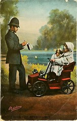 Exceeding the Speed Limit (Aussie~mobs) Tags: vintage postcard policeman children motorcar toy