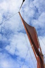 Heavenly Breeze (innpictime  ) Tags: sky clouds london thames rigging sbhydrogen mast sail brown ochre ship sailing topsail barge gaffrigged 515111850093598 spar gaff topmast spreader sheets crosstree sprit rochester