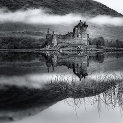 Kilchurn Castle and Scotch Mist (roseysnapper) Tags: bw kilchurncastle lochawe nikkor2470f28 nikond810 scotchmist silverefexpro20 blackandwhite circularpolarizer lightroom photoshop scotland landscape monochrome mountain outdoor peace reflection ruin serene tranquil water