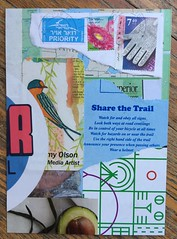 Share the trail (witt0071) Tags: swapbot postcard collage ephemera sticker postagestamp tammyolson avocado mailart ihanna diypostcardswap