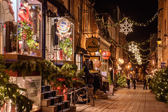 Old Quebec (caribb) Tags: nightphotography shopping chemin rue retail canada quebec quebeccity canadianhistory buildings urban city 2016 downtown centreville street streets centrum old vieuxquébec oldquebec historic heritage decorations christmasdecorations road night cobblestones cobblestone cobblestonestreet narrowstreet pretty quaint shops stores windows shopwindows signs snowflakes lights christmaslights stairs steps ruedupetitchamplain quartierpetitchamplain tourists tourism beautiful