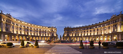 Piazza della Repubblica (and641) Tags: rome italy republica piazzadellarepubblica nikond5100 wideangle bluehour clouds sky longexposure night dark tokinaaf1116mmf28 trails lighttrails cars tokina buildings architecture fountain