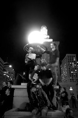 Youth Against Trump (Protest Series). Oakland CA, Fall 2016. (j.m. gonzalez) Tags: youth trumpprotests democracy freespeech 2016elections 2016presidentialelectionaftermath streetphotography olympus omdm5 lumixgvario limixlens oaklandcitycenter oakland 2016electionresultprotests blackandwhitephotography