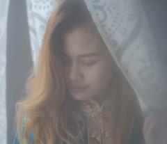 Curtain effect (JiggieSmalls) Tags: dress asian costume winter home curtain window love girl shy fashion