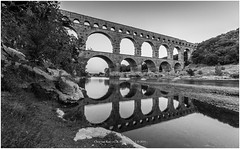 Monochrome Reflection, France (CvK Photography) Tags: bw bridge canon cvk europe france holiday nature outdoor pontdugard provence reflection summer sunset monochrome monochroom reflectie brug