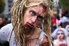 Zombie Dreadlocks (Silver Machine) Tags: bristol bristolzombiewalk2016 zombie man dreadlocks blonde streetphotography street streetportrait blood stare streetparade fujifilm fujifilmxt10 fujinonxf35mmf2rwr