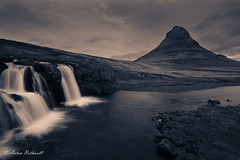 Sorting Hat Mountain (JustAnotherCanonOperator (JACO)) Tags: autumn grey sunset landscape waterfall river cold water kirkjufell bw splittone iceland rocks monochrome mountain