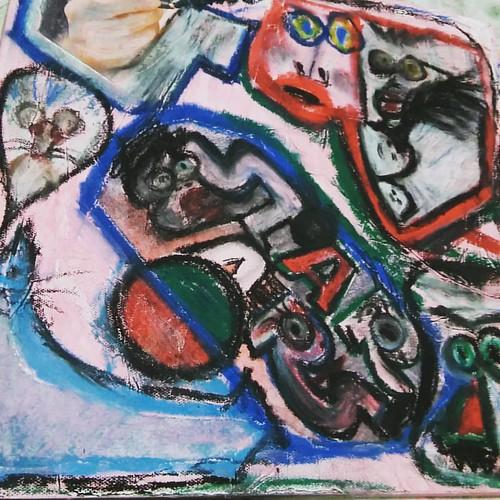 #pintura #pintando #arteabstracto #artwork #madrugada #painting #paint #art #artist #oilpainting #oilpastels