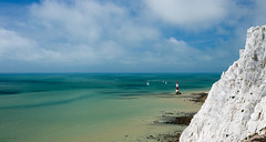 Beachy Head Lighthouse (Koupal D) Tags: beachyheadlighthouse sevensisterscliffs sussex cliffs hiking bluesky blue 50mmf18g nikond610 nikkor water white sea uk summer landscape nature mare scogliera blu clouds azul acantilado mar southdownsnationalpark outdoor england boats      lighthouse
