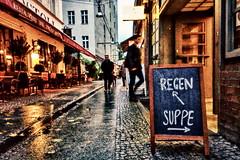 cold water vs warm water (micagoto) Tags: regen suppe werbung advertisement savignyplatz