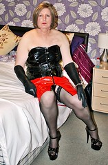 Black With Red PVC (Jenny Gloria Williams) Tags: platformheels pvc basque corset holdups blonde bbtv bondage gloves jennywilliamstv transgendered tg transvestie transvestite tranny trannie tranvesti crossdressing crossdressed crossdresser crossdress stockings