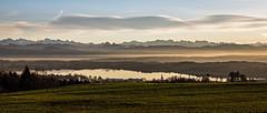 Early December Landscape and Light (onurbwa51) Tags: swiss alps lake pfffikerseeglarneralpen landscape landschaft clouds wolken mountains berge snow reflections reflektionspiegelung sunsetting fog dunst pfffikon zurich firstdayinwinter ersterwintertag voralpen