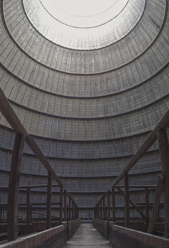 Inside the cooling tower of the former Electrabel power plant, 19.04.2014.